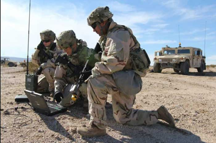 U.S. Army using laptop